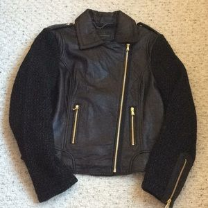 French Connection Black Leather Moto Jacket